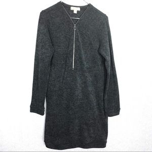 Micheal Kors Gray Zip Up Front Logo Sweater Dress